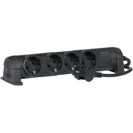 """Удлинитель Legrand, 4 розетки, 16А, выключатель с индикацией, фиксируемый, поворотный, шнур 3.0м, черный, серия """"комфорт"""" 694605"""