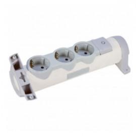 Legrand Комфорт 3 розетки с заземляющим контактом со шторками, поворотный блок с фиксацией, выключатель с индикацией