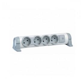 Legrand Комфорт 4 розетки с заземляющим контактом со шторками, поворотный блок с фиксацией, выключатель с индикацией