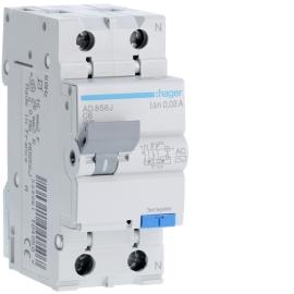 Дифференциальный автоматический выключатель Hager AD856J 1+N, 6A, 30 mA, С, 4,5 КА, AC, 2м