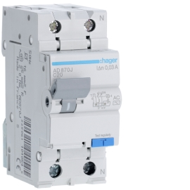 AD870J Дифференциальный автоматический выключатель 1 + N, 20A, 30 mA, С, 4,5 КА, AC, 2м