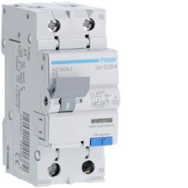 AD906J Диференційний автоматичний вимикач 1Р+N 6kA B-6A 30ma A