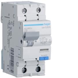 Дифференциальный автоматический выключатель Hager AD960J 1P+N 6kA C-10A 30mA А