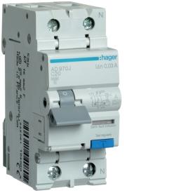 Дифференциальный автоматический выключатель Hager AD970J 1+N, 20A, 30 mA, С, 6 КА, AC, 2м