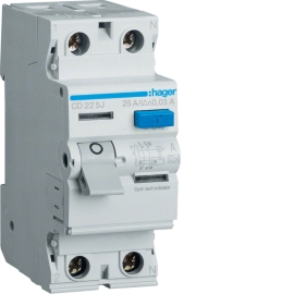 Устройство защитного отключения (УЗО) Hager CD225J 2x25A, 30 mA, A, 2м