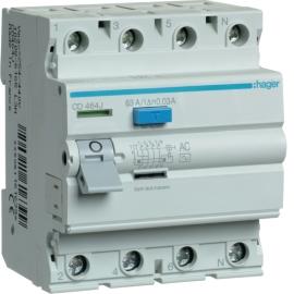 Устройство защитного отключения (УЗО) Hager CD464J 4x63A, 30 mA, AC, 4м