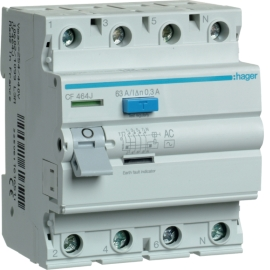 Устройство защитного отключения (УЗО) Hager CF464J 4x63A, 300 mA, AC, 4м