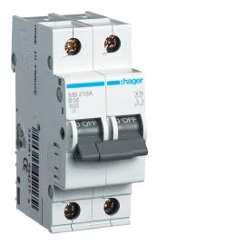 Автоматический выключатель Hager MB216A In= 16А, 2п, В, 6 kA, 2м
