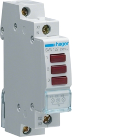 Индикатор LED Hager SVN127 230В, тройной, 1м