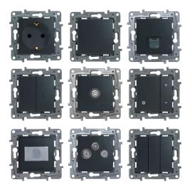 672615 Legrand Etika выключатель/переключатель с подсветкой с автоматическими клемами Антрацит