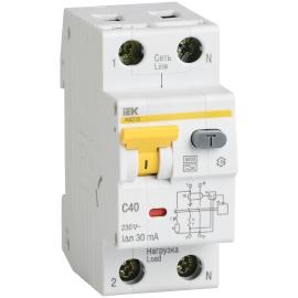 Дифференциальный автоматический выключатель АВДТ 32 1+N 40А 30мА ИЭК
