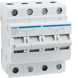 Переключатель ввода резерва Hager SF263, 250В / 63А, 1 + N, 4м