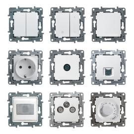 672212 Legrand Etika Выключатель/переключатель с автоматическими клеммами 2-клавишный белый